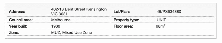 Section of property report showing property details such as the address and council area