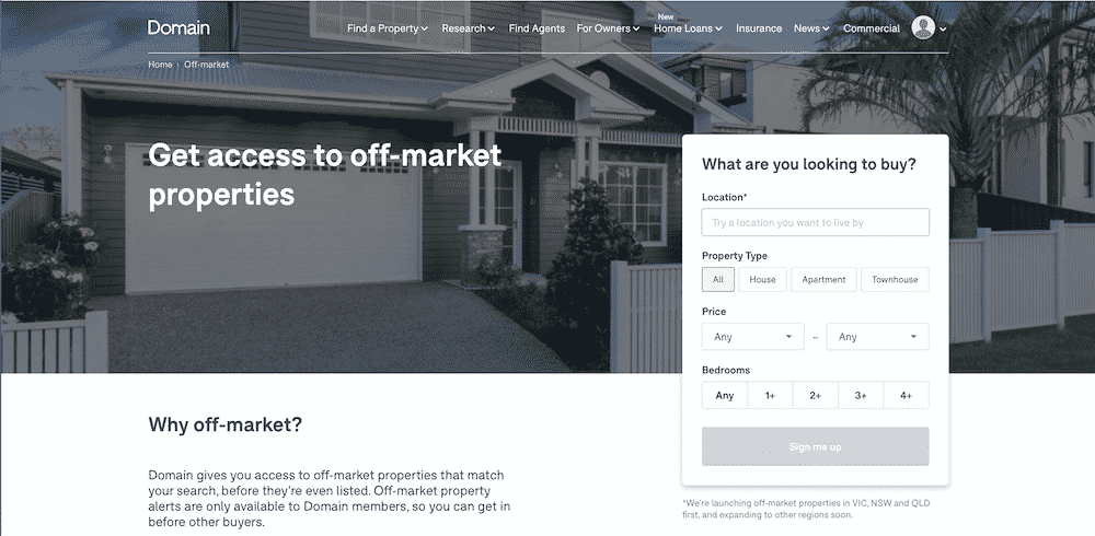 Off-market property on Domain